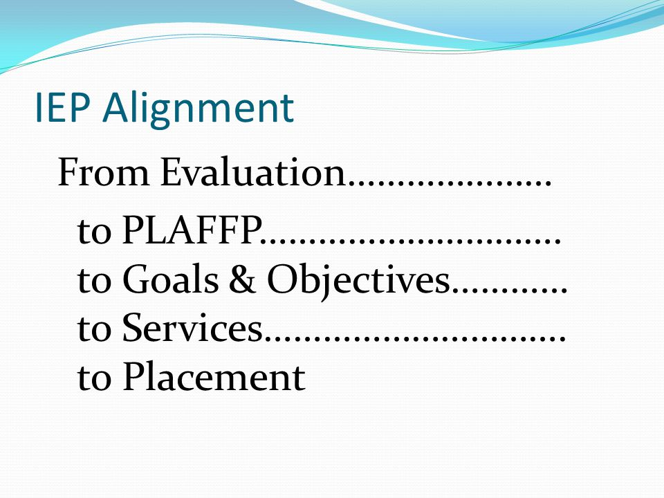 IEP Alignment From Evaluation………………… to PLAFFP…………………………. to Goals & Objectives………… to Services…………………………. to Placement