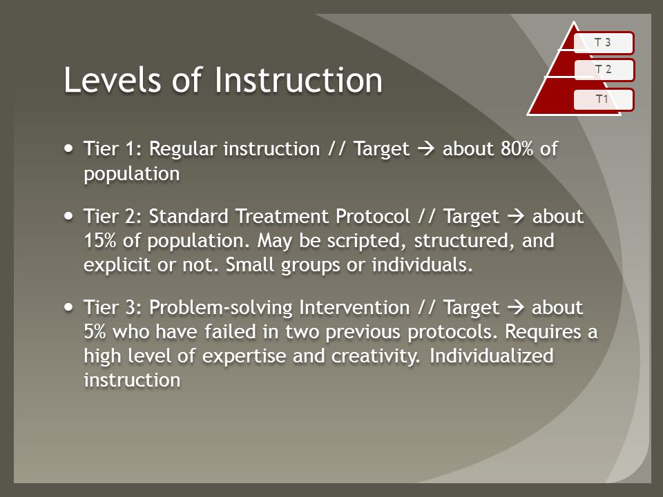 Levels of Instruction Tier 1: Regular instruction // Target  about 80% of population Tier 2: Standard Treatment Protocol // Target  about 15% of population.