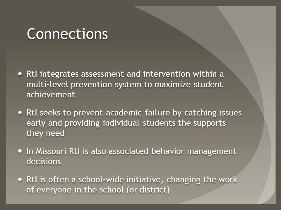 Evaluation Staff need to see if interventions are working No data on how this is working.