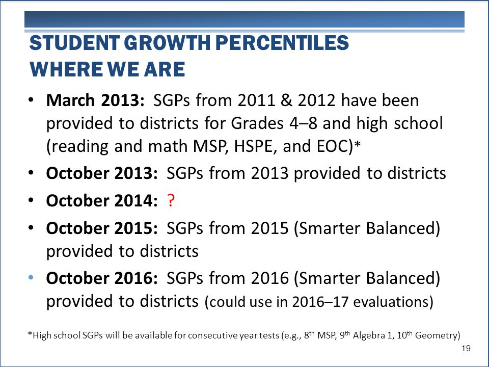 STUDENT GROWTH PERCENTILES WHERE WE ARE March 2013: SGPs from 2011 & 2012 have been provided to districts for Grades 4–8 and high school (reading and math MSP, HSPE, and EOC) * October 2013: SGPs from 2013 provided to districts October 2014: .