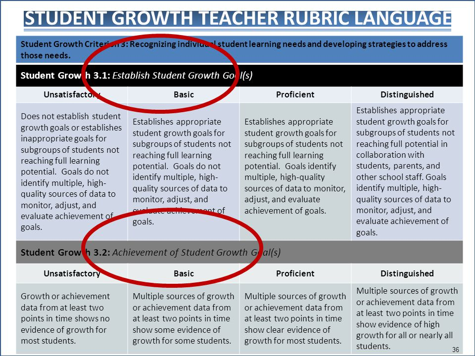 STUDENT GROWTH TEACHER RUBRIC LANGUAGE Student Growth Criterion 3: Recognizing individual student learning needs and developing strategies to address those needs.