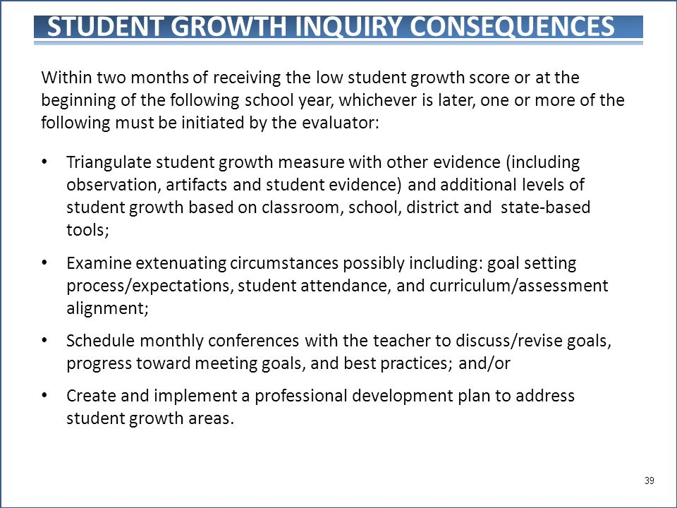STUDENT GROWTH INQUIRY CONSEQUENCES Within two months of receiving the low student growth score or at the beginning of the following school year, whichever is later, one or more of the following must be initiated by the evaluator: Triangulate student growth measure with other evidence (including observation, artifacts and student evidence) and additional levels of student growth based on classroom, school, district and state-based tools; Examine extenuating circumstances possibly including: goal setting process/expectations, student attendance, and curriculum/assessment alignment; Schedule monthly conferences with the teacher to discuss/revise goals, progress toward meeting goals, and best practices; and/or Create and implement a professional development plan to address student growth areas.