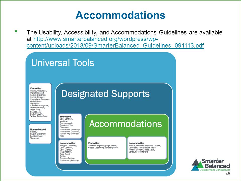 Accommodations 45 The Usability, Accessibility, and Accommodations Guidelines are available at http://www.smarterbalanced.org/wordpress/wp- content/up