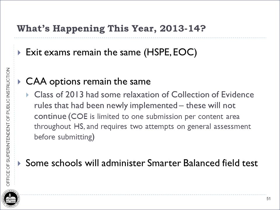 OFFICE OF SUPERINTENDENT OF PUBLIC INSTRUCTION What's Happening This Year, 2013-14?  Exit exams remain the same (HSPE, EOC)  CAA options remain the