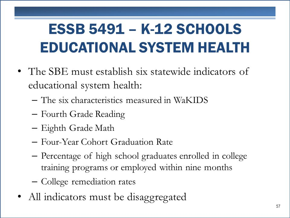 The SBE must establish six statewide indicators of educational system health: – The six characteristics measured in WaKIDS – Fourth Grade Reading – Eighth Grade Math – Four-Year Cohort Graduation Rate – Percentage of high school graduates enrolled in college training programs or employed within nine months – College remediation rates All indicators must be disaggregated ESSB 5491 – K-12 SCHOOLS EDUCATIONAL SYSTEM HEALTH 57