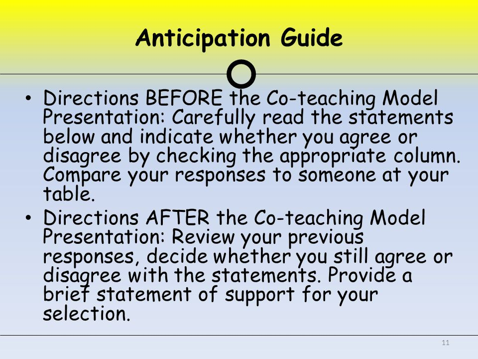 Anticipation Guide Directions BEFORE the Co-teaching Model Presentation: Carefully read the statements below and indicate whether you agree or disagree by checking the appropriate column.
