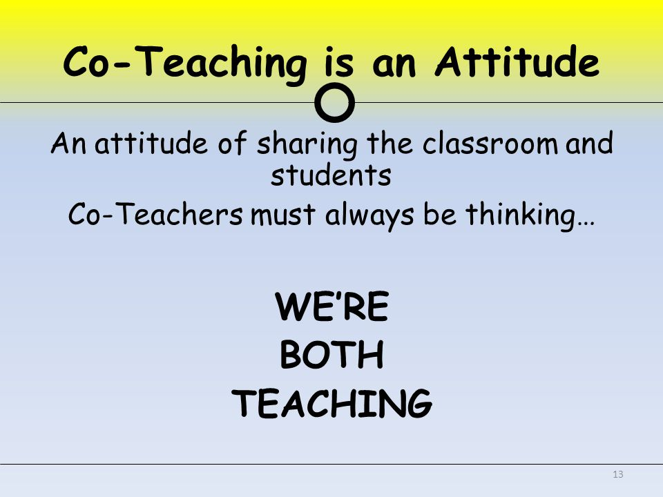 Co-Teaching is an Attitude An attitude of sharing the classroom and students Co-Teachers must always be thinking… WE'RE BOTH TEACHING 13