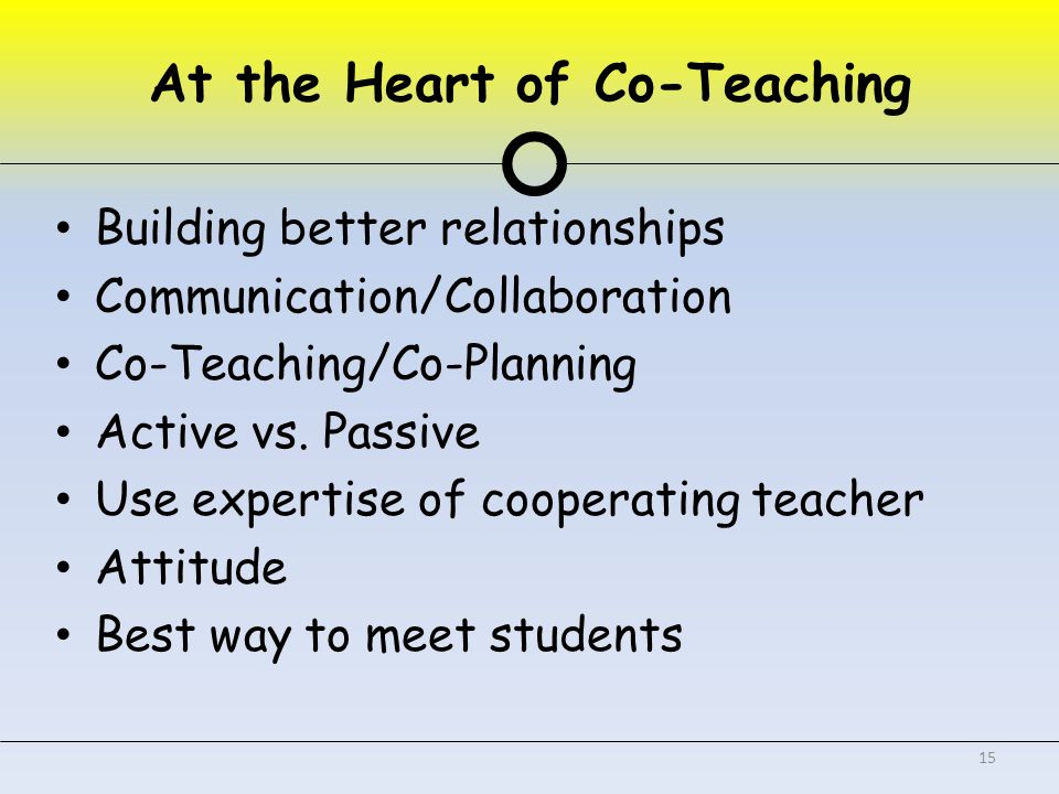 At the Heart of Co-Teaching Building better relationships Communication/Collaboration Co-Teaching/Co-Planning Active vs.