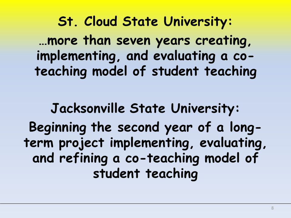 Connections Think about the JSU project for co-teaching.