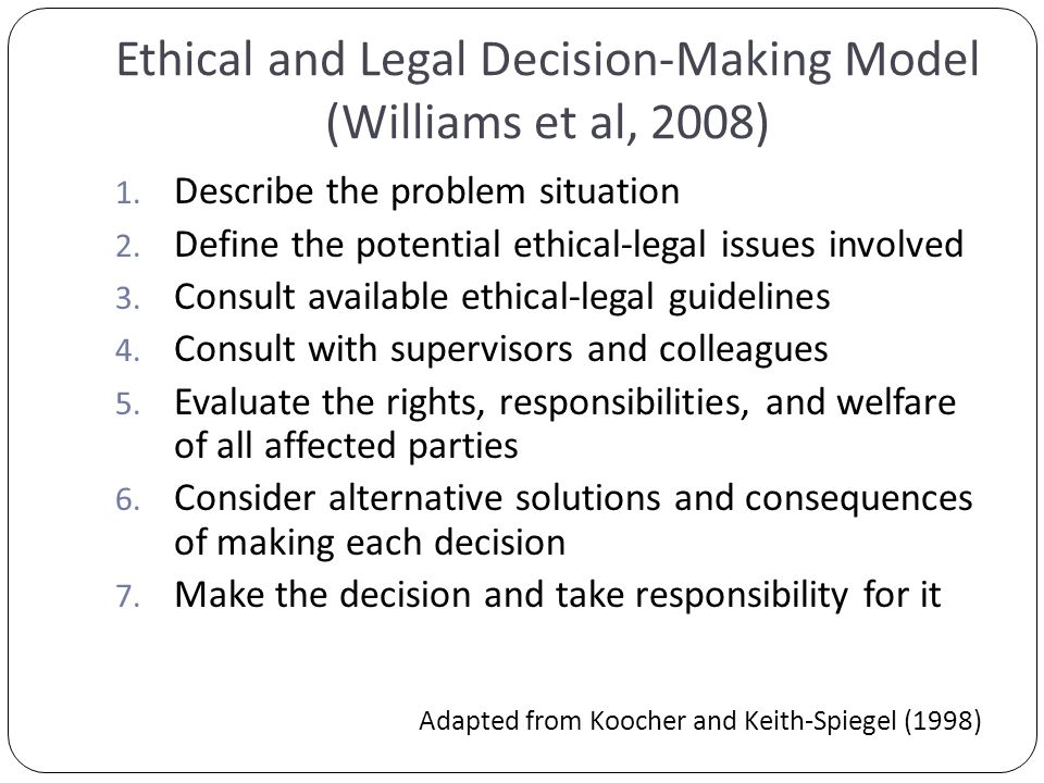 Ethical and Legal Decision-Making Model (Williams et al, 2008) 1.
