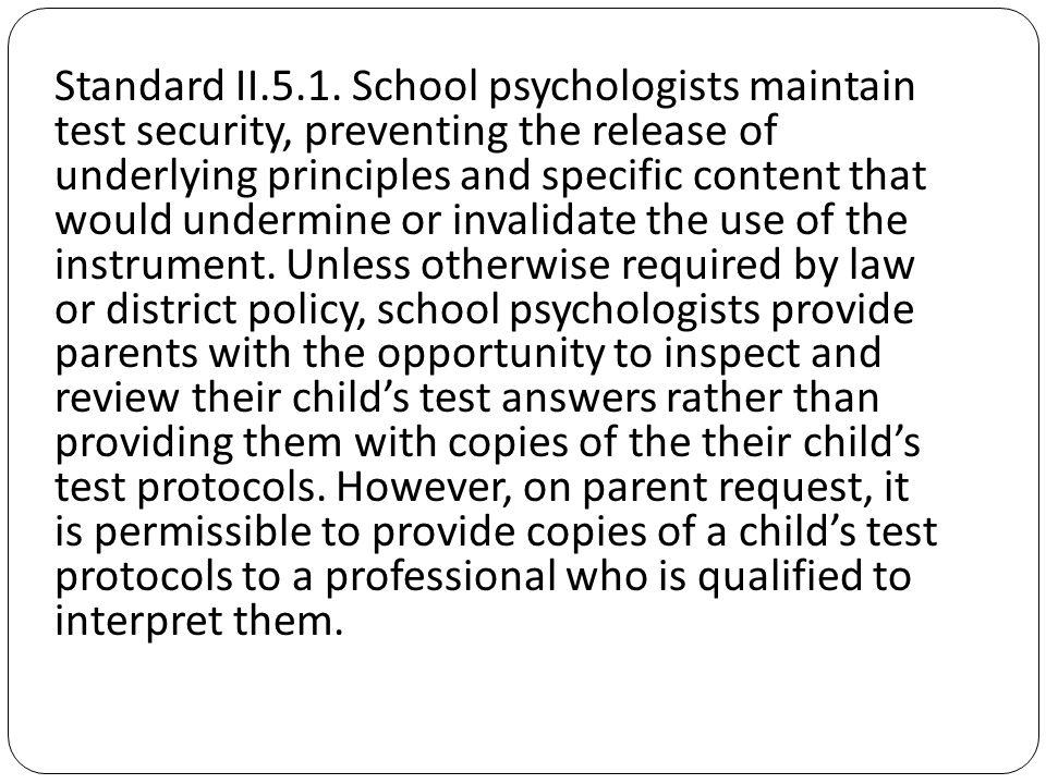 Standard II.5.1.