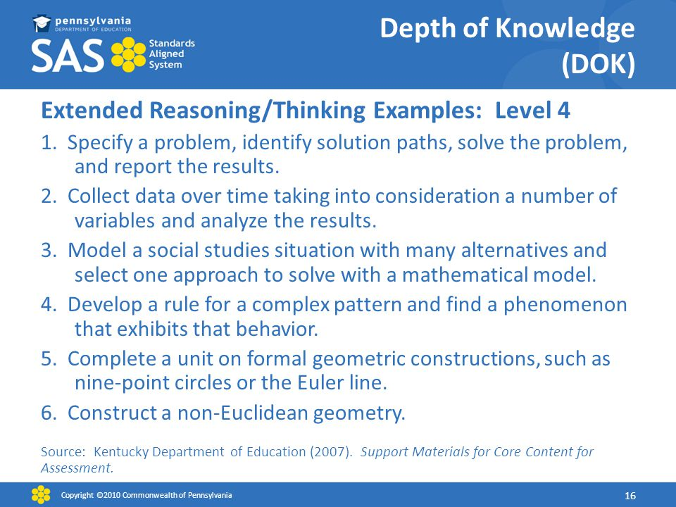 Depth of Knowledge (DOK) Extended Reasoning/Thinking Examples: Level 4 1.