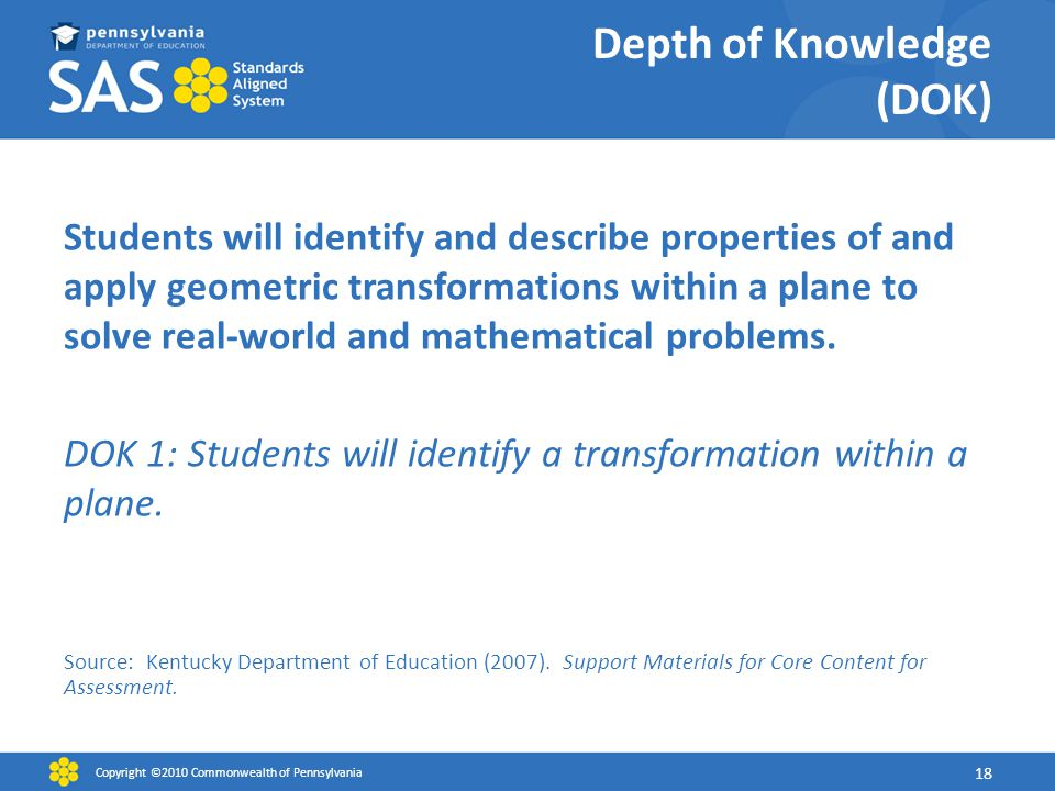 Depth of Knowledge (DOK) Students will identify and describe properties of and apply geometric transformations within a plane to solve real-world and mathematical problems.