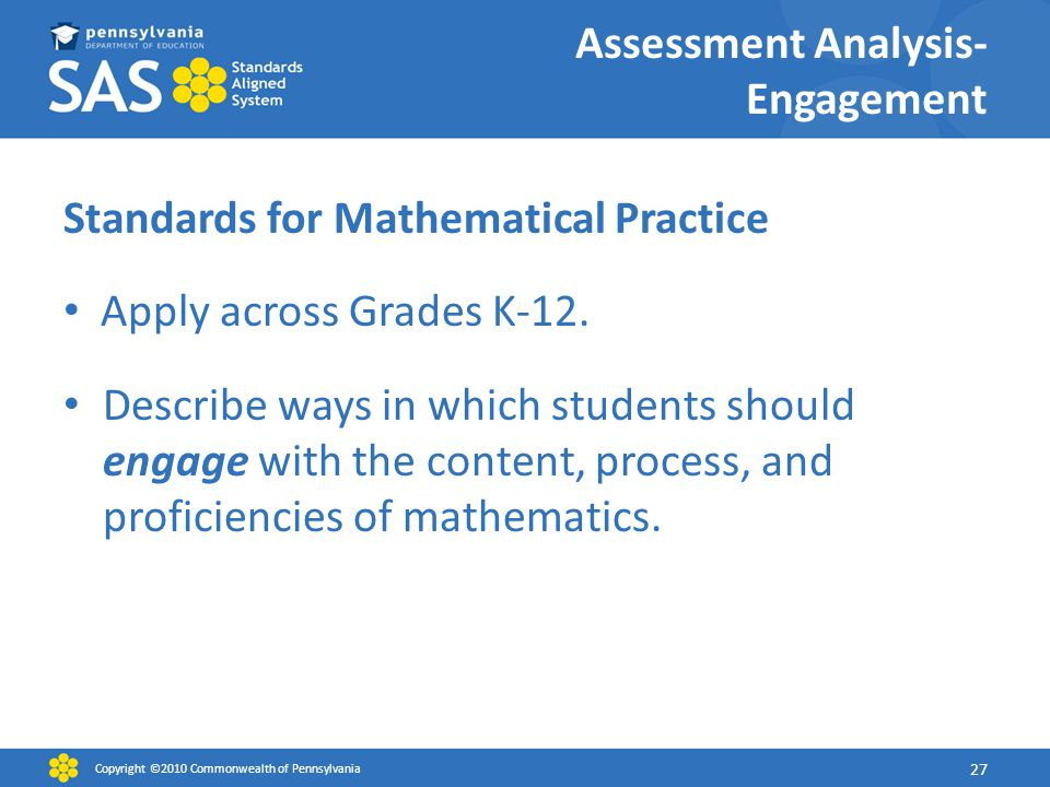 Assessment Analysis- Engagement Standards for Mathematical Practice Apply across Grades K-12.