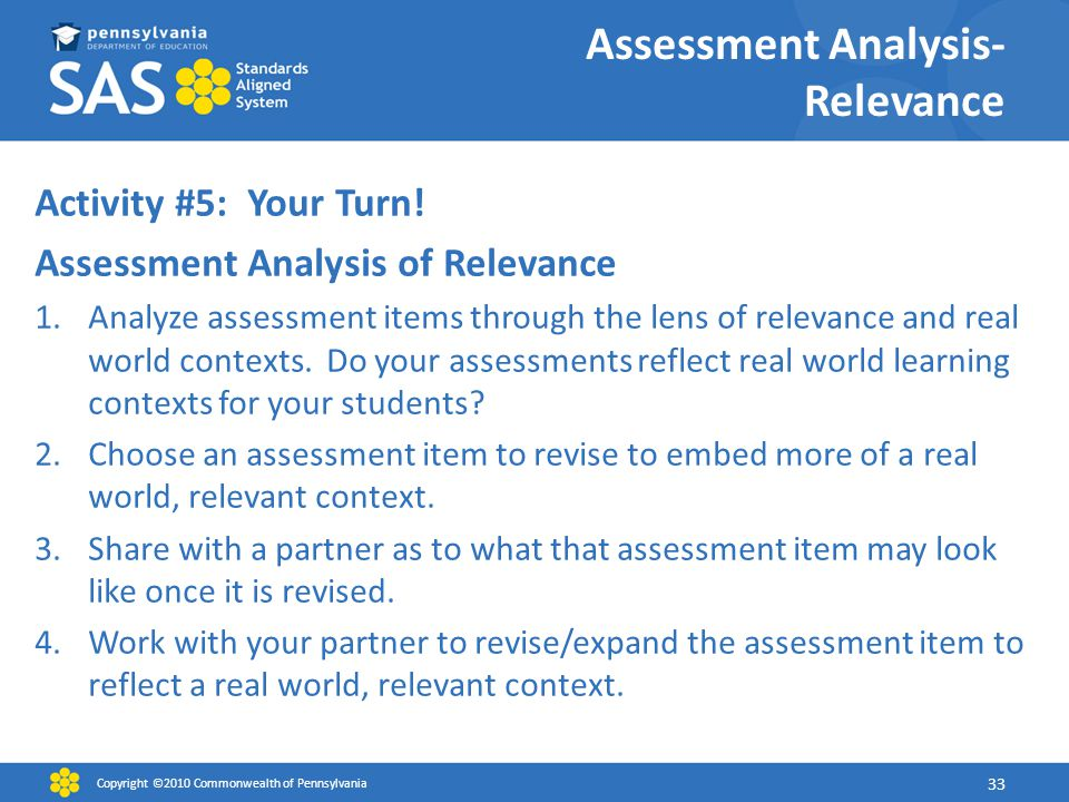 Assessment Analysis- Relevance Activity #5: Your Turn.