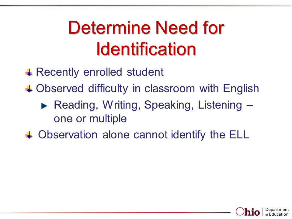 Determine Need for Identification Recently enrolled student Observed difficulty in classroom with English Reading, Writing, Speaking, Listening – one