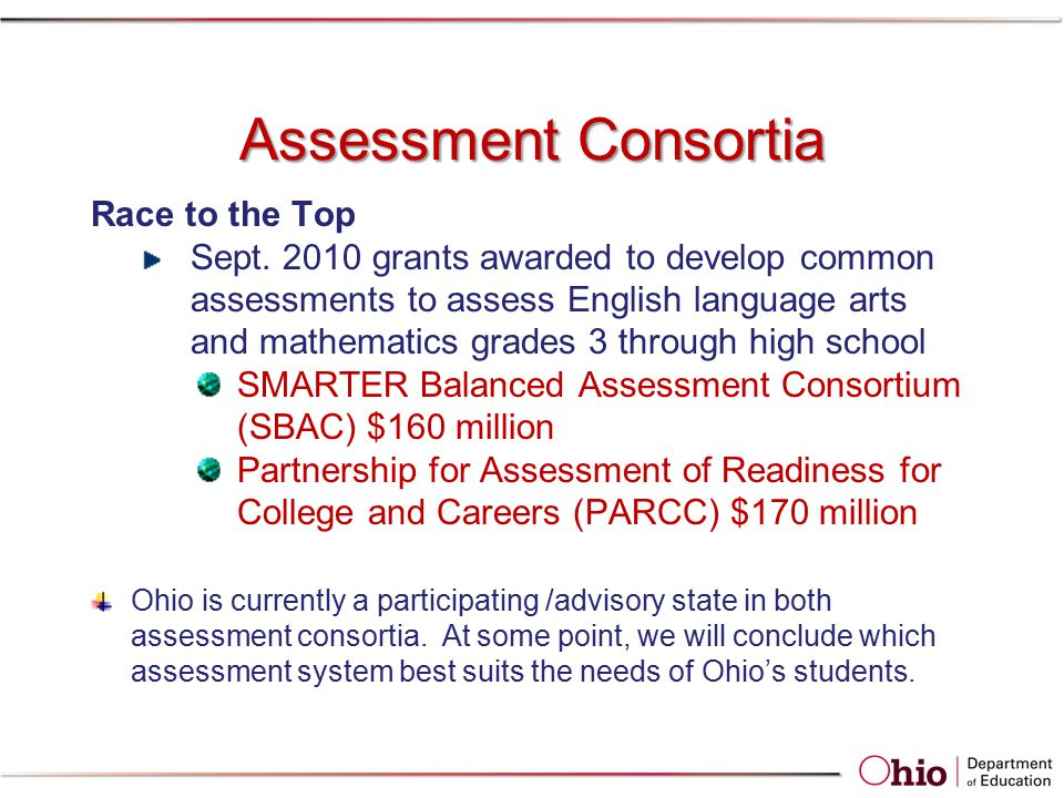 Assessment Consortia Race to the Top Sept. 2010 grants awarded to develop common assessments to assess English language arts and mathematics grades 3