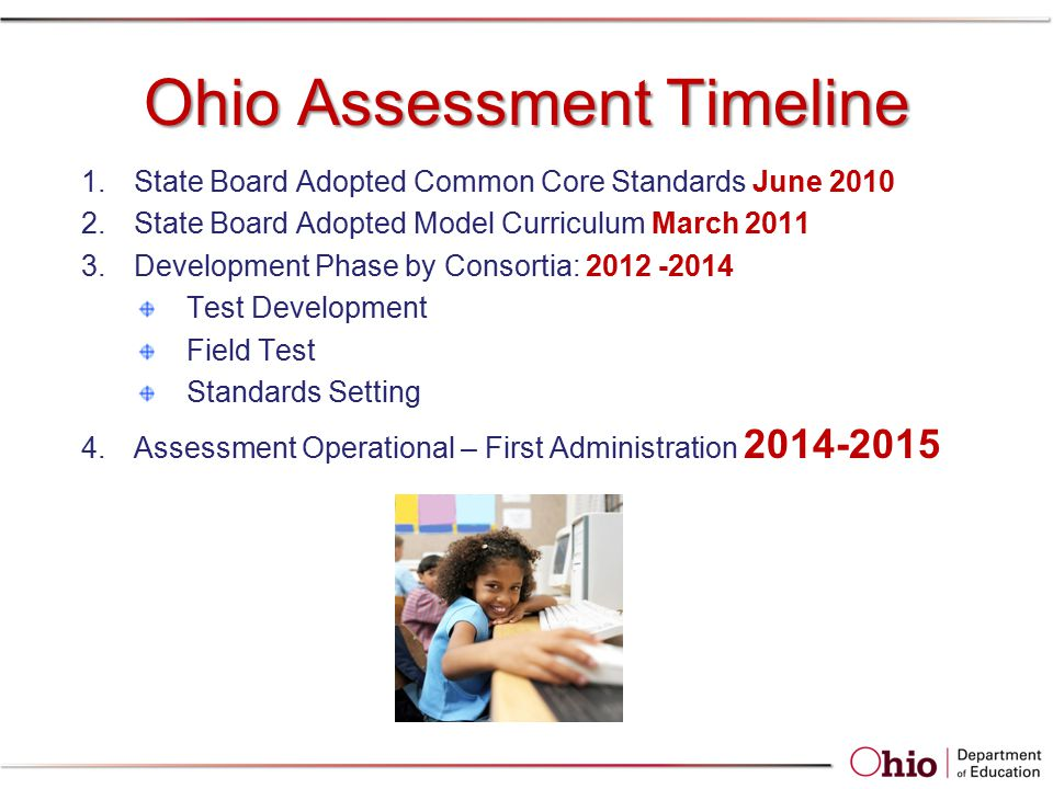 Ohio Assessment Timeline 1.State Board Adopted Common Core Standards June 2010 2.State Board Adopted Model Curriculum March 2011 3.Development Phase by Consortia: 2012 -2014 Test Development Field Test Standards Setting 4.Assessment Operational – First Administration 2014-2015