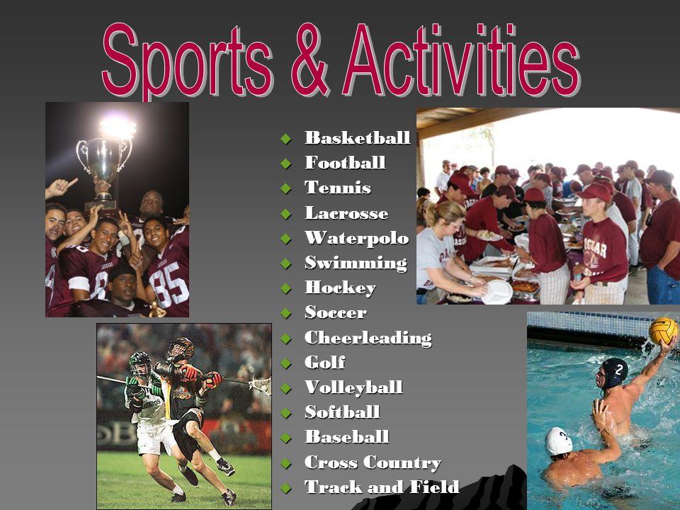  Basketball  Football  Tennis  Lacrosse  Waterpolo  Swimming  Hockey  Soccer  Cheerleading  Golf  Volleyball  Softball  Baseball  Cross Country  Track and Field