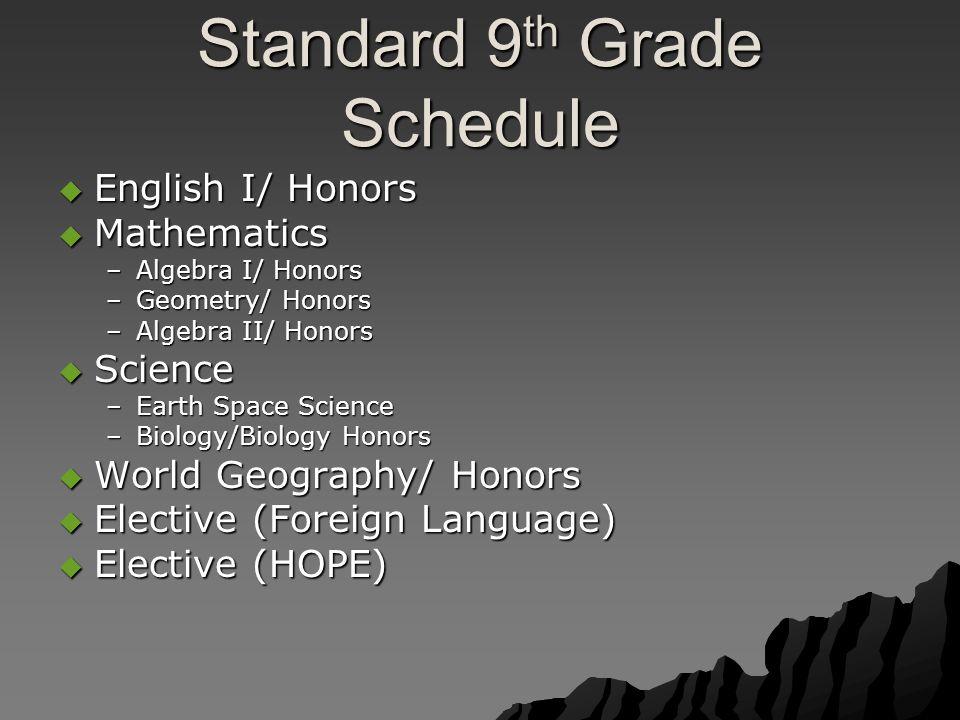 Standard 9 th Grade Schedule  English I/ Honors  Mathematics –Algebra I/ Honors –Geometry/ Honors –Algebra II/ Honors  Science –Earth Space Science –Biology/Biology Honors  World Geography/ Honors  Elective (Foreign Language)  Elective (HOPE)
