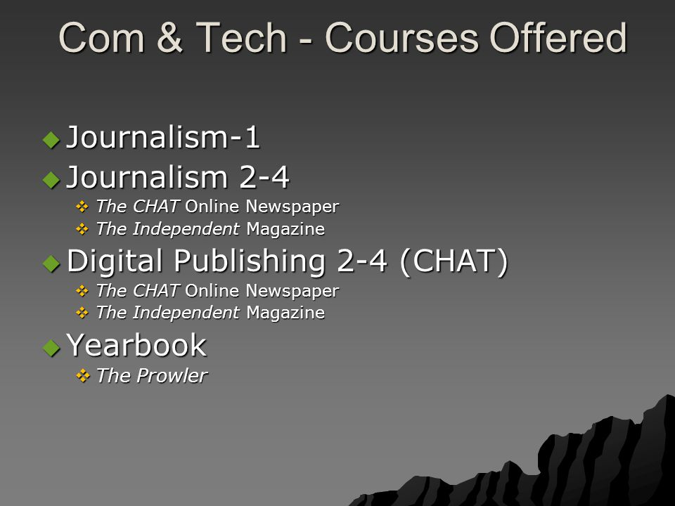 Com & Tech - Courses Offered Com & Tech - Courses Offered  Journalism-1  Journalism 2-4  The CHAT Online Newspaper  The Independent Magazine  Digital Publishing 2-4 (CHAT)  The CHAT Online Newspaper  The Independent Magazine  Yearbook  The Prowler