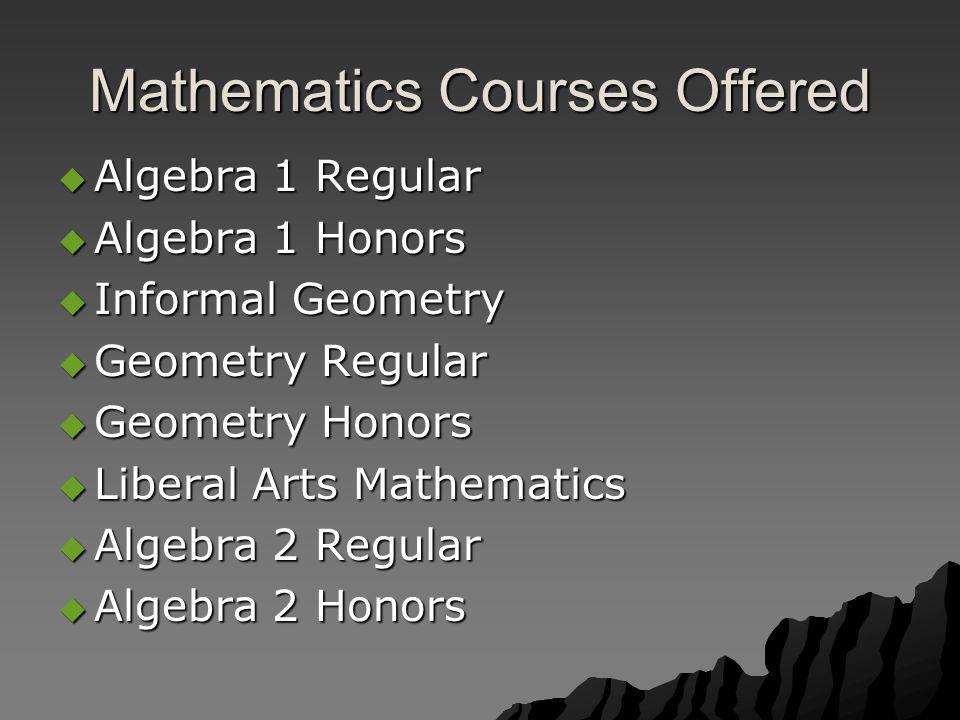 Mathematics Courses Offered  Algebra 1 Regular  Algebra 1 Honors  Informal Geometry  Geometry Regular  Geometry Honors  Liberal Arts Mathematics  Algebra 2 Regular  Algebra 2 Honors