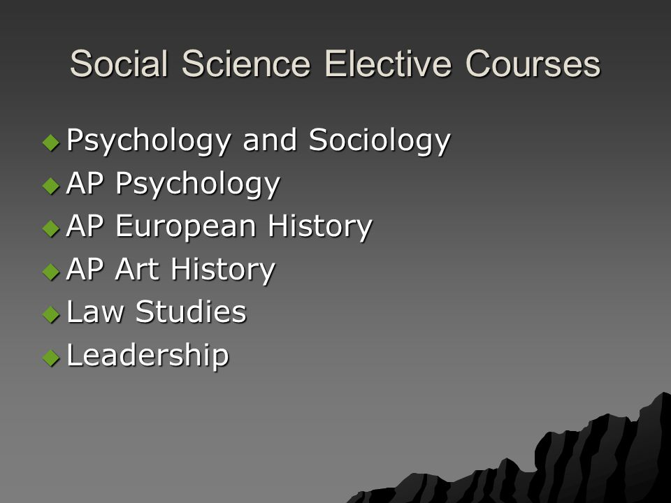 Social Science Elective Courses  Psychology and Sociology  AP Psychology  AP European History  AP Art History  Law Studies  Leadership