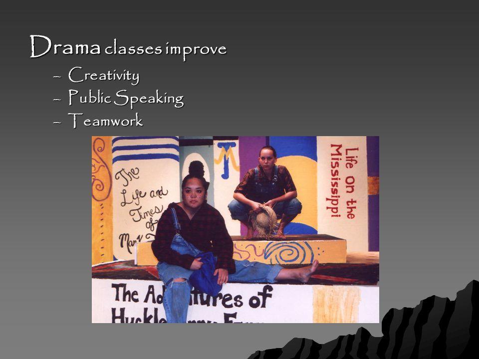 Drama classes improve –Creativity –Public Speaking –Teamwork