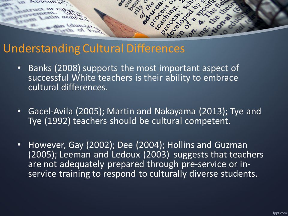 Understanding Cultural Differences Banks (2008) supports the most important aspect of successful White teachers is their ability to embrace cultural d