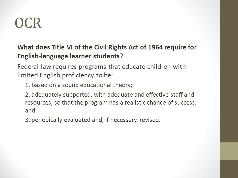 OCR What does Title VI of the Civil Rights Act of 1964 require for English-language learner students.