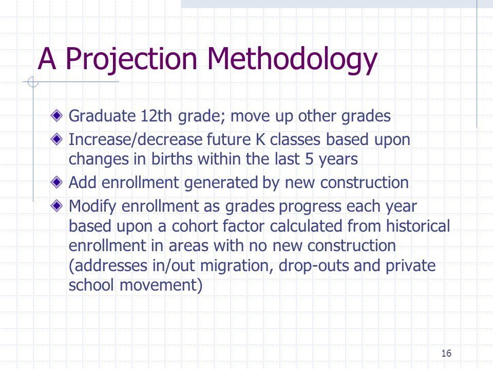 A Projection Methodology Graduate 12th grade; move up other grades Increase/decrease future K classes based upon changes in births within the last 5 years Add enrollment generated by new construction Modify enrollment as grades progress each year based upon a cohort factor calculated from historical enrollment in areas with no new construction (addresses in/out migration, drop-outs and private school movement) 16