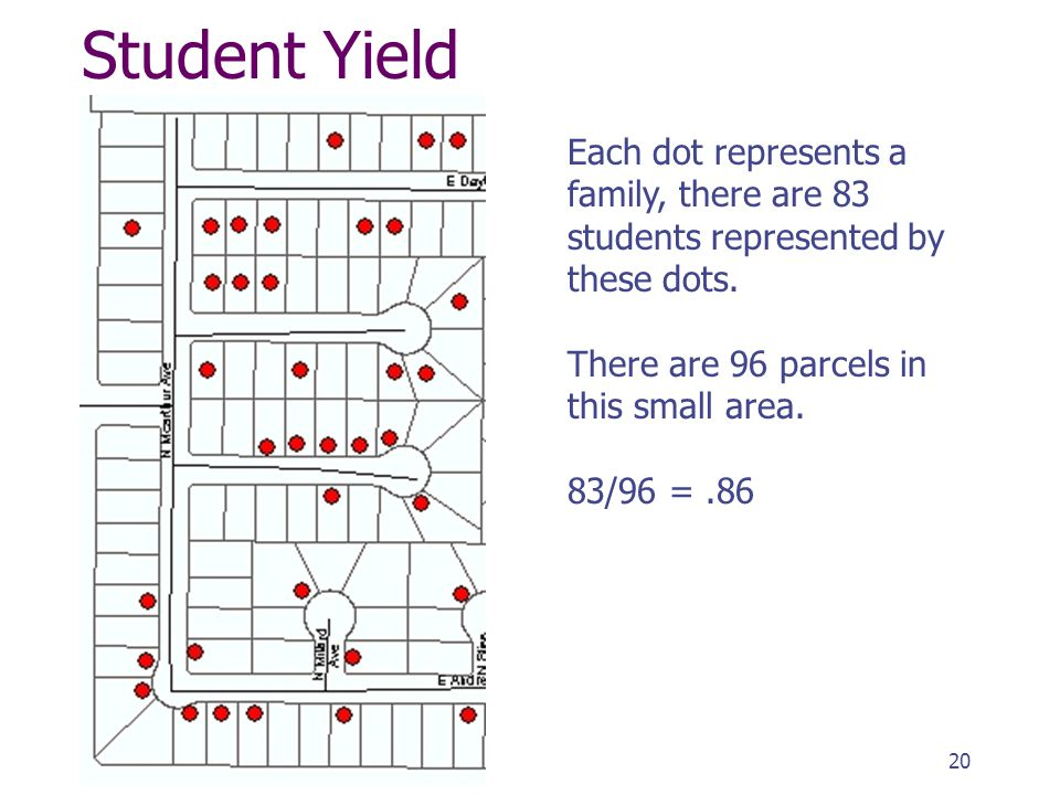 Student Yield Each dot represents a family, there are 83 students represented by these dots.