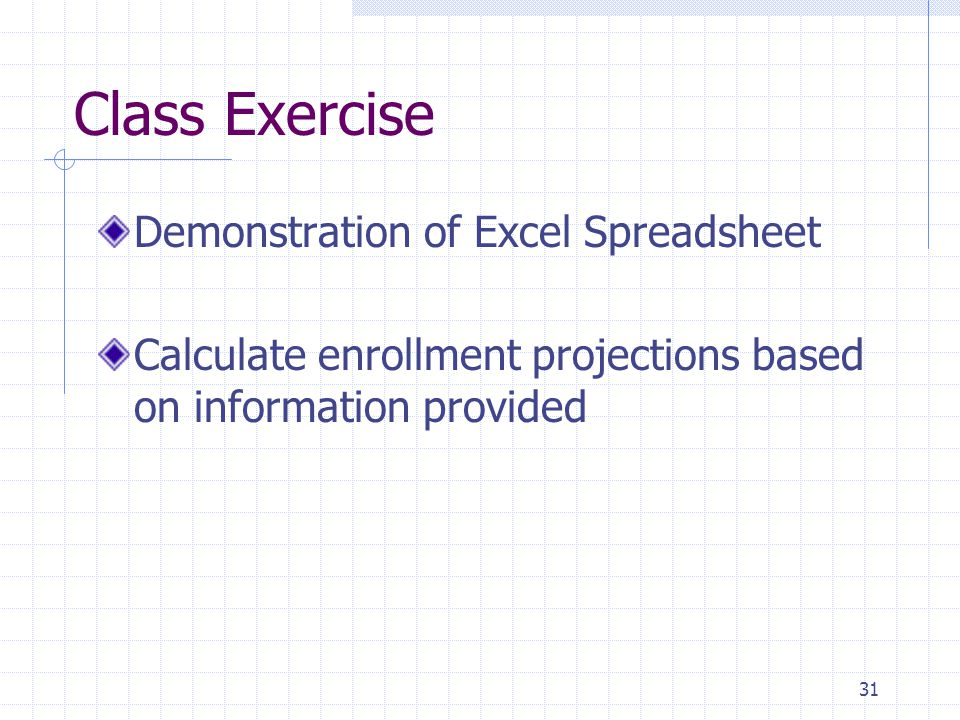 Class Exercise Demonstration of Excel Spreadsheet Calculate enrollment projections based on information provided 31