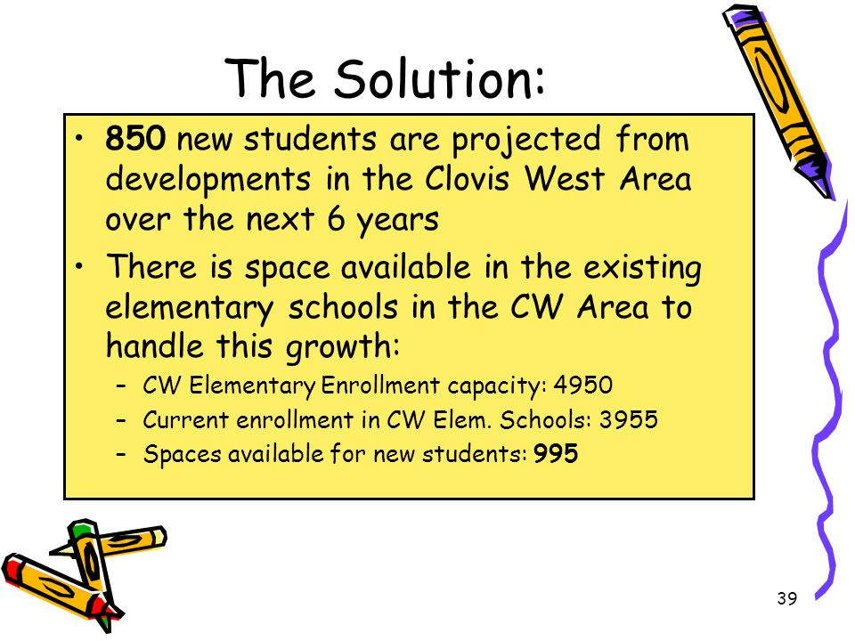 The Solution: 850 new students are projected from developments in the Clovis West Area over the next 6 years There is space available in the existing elementary schools in the CW Area to handle this growth: –CW Elementary Enrollment capacity: 4950 –Current enrollment in CW Elem.