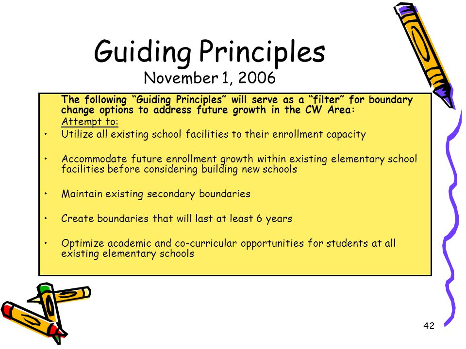 Guiding Principles November 1, 2006 The following Guiding Principles will serve as a filter for boundary change options to address future growth in the CW Area: Attempt to: Utilize all existing school facilities to their enrollment capacity Accommodate future enrollment growth within existing elementary school facilities before considering building new schools Maintain existing secondary boundaries Create boundaries that will last at least 6 years Optimize academic and co-curricular opportunities for students at all existing elementary schools 42
