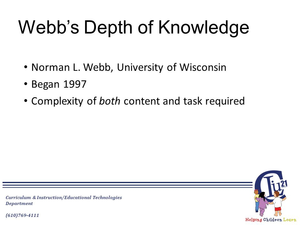 Webb's Depth of Knowledge Norman L. Webb, University of Wisconsin Began 1997 Complexity of both content and task required Curriculum & Instruction/Edu