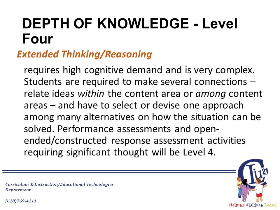 DEPTH OF KNOWLEDGE - Level Four Extended Thinking/Reasoning requires high cognitive demand and is very complex.
