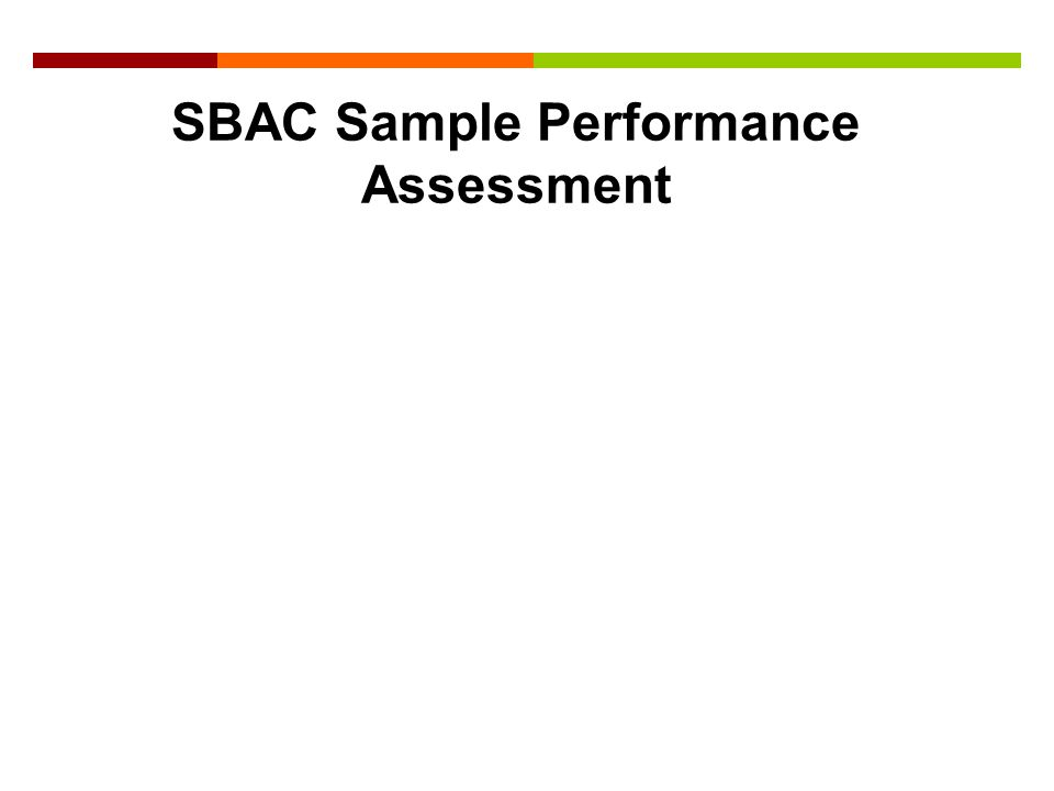 SBAC Sample Performance Assessment
