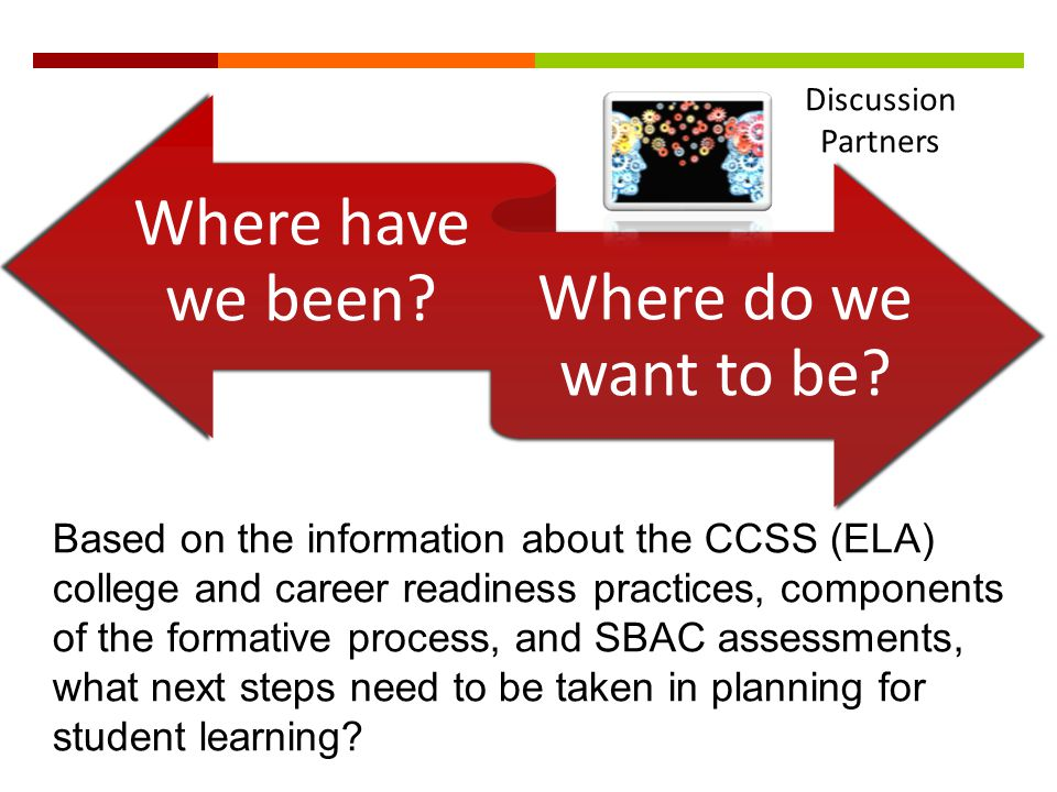 Where have we been? Where do we want to be? Based on the information about the CCSS (ELA) college and career readiness practices, components of the fo
