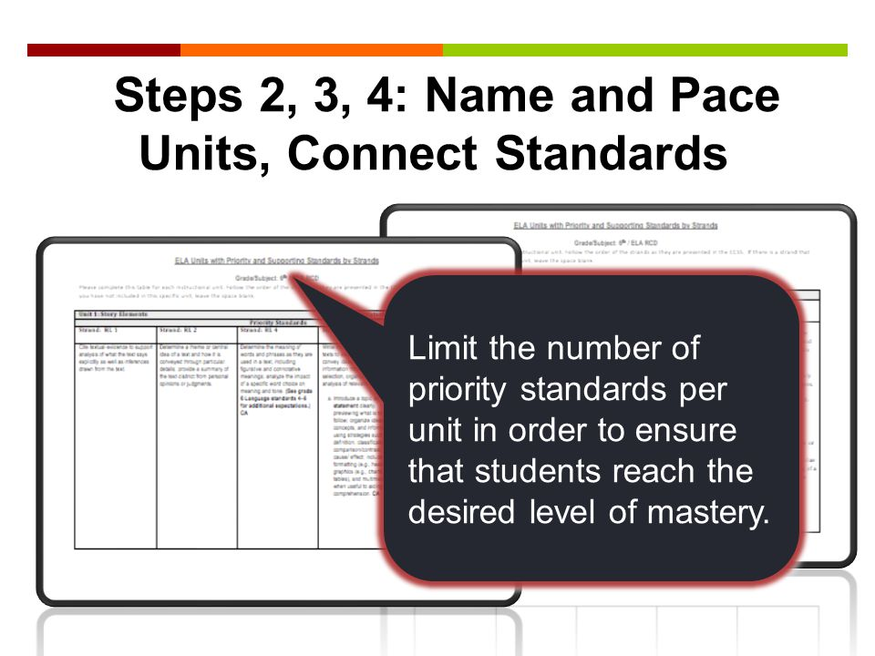 Steps 2, 3, 4: Name and Pace Units, Connect Standards Limit the number of priority standards per unit in order to ensure that students reach the desired level of mastery.