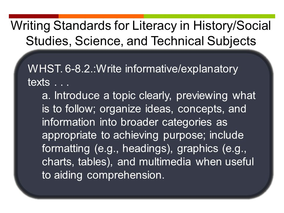 WHST. 6-8.2.:Write informative/explanatory texts... a. Introduce a topic clearly, previewing what is to follow; organize ideas, concepts, and informat