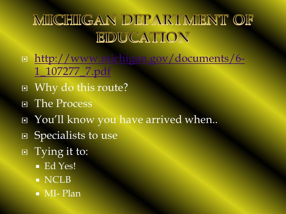  http://www.michigan.gov/documents/6- 1_107277_7.pdf http://www.michigan.gov/documents/6- 1_107277_7.pdf  Why do this route.
