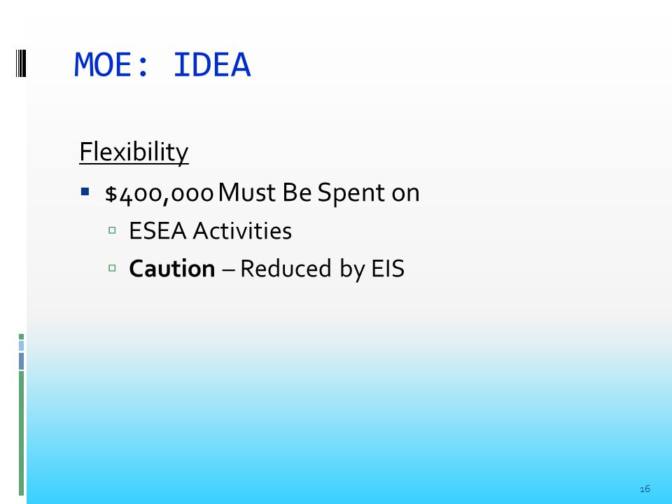 MOE: IDEA Flexibility  $400,000 Must Be Spent on  ESEA Activities  Caution – Reduced by EIS 16