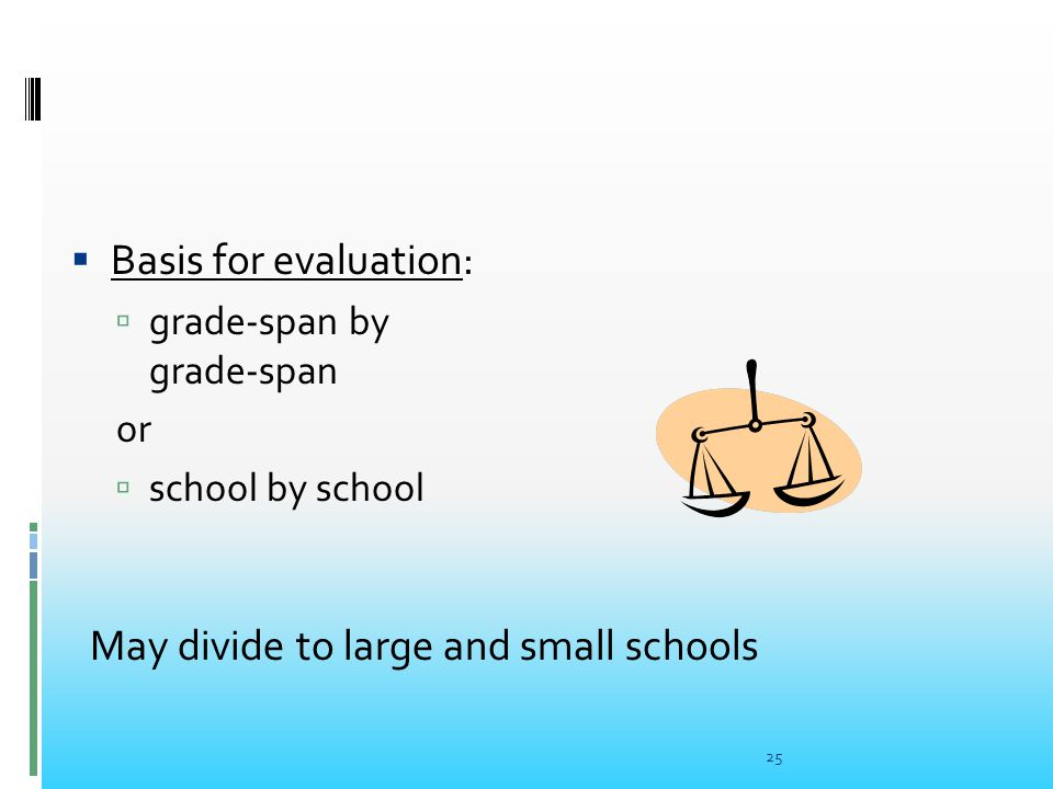  Basis for evaluation:  grade-span by grade-span or  school by school 25 May divide to large and small schools
