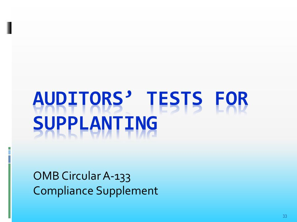 33 OMB Circular A-133 Compliance Supplement