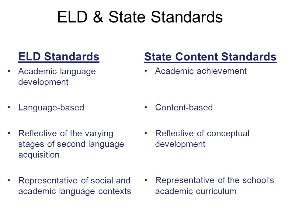 ELD & State Standards State Content Standards Academic achievement Content-based Reflective of conceptual development Representative of the school's a
