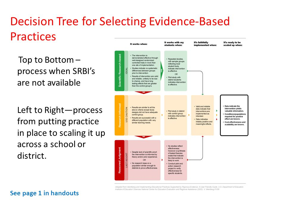 Decision Tree for Selecting Evidence-Based Practices See page 1 in handouts Top to Bottom – process when SRBI's are not available Left to Right—process from putting practice in place to scaling it up across a school or district.