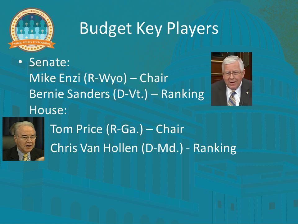 Budget Key Players Senate: Mike Enzi (R-Wyo) – Chair Bernie Sanders (D-Vt.) – Ranking House: Tom Price (R-Ga.) – Chair Chris Van Hollen (D-Md.) - Ranking