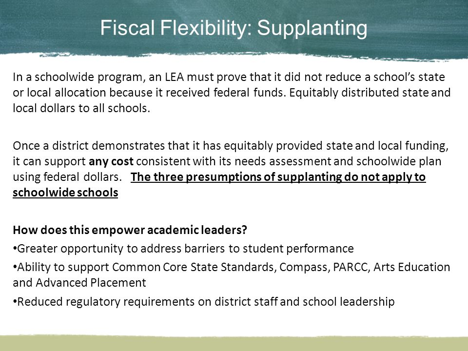 Fiscal Flexibility: Supplanting In a schoolwide program, an LEA must prove that it did not reduce a school's state or local allocation because it received federal funds.