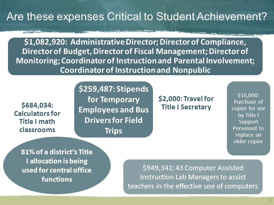 Are these expenses Critical to Student Achievement.